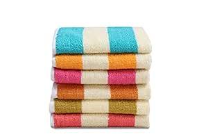 HSR Collection 6 Piece Cotton Hand Towel - 120 GSM, Multicolor