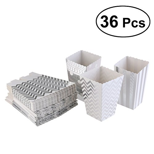 Toyvian Popcorn Boxen Karton Papierbehälter Favor Boxen Halter Set Party Favors Liefert Dekoration 36 Stücke (Silber)