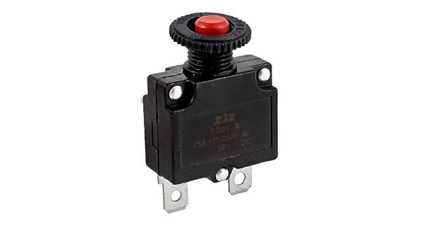 sourcingmap AC125//250V 15A Bouton Poussoir Compresseur DAir Disjoncteur Protecteur De Surcharge