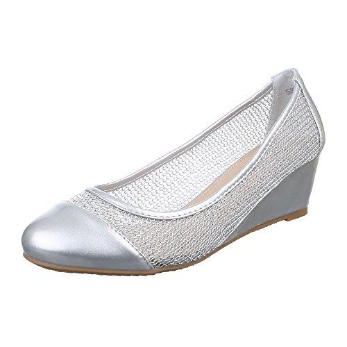 Damen Schuhe, 58981, PUMPS KEIL WEDGES Silber