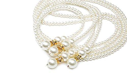 1920er Jahre Gatsby Flapper lange Perlenkette Zubehör für Party (Gold) (Halloween-kostüme Aus Den 1920er Jahren)
