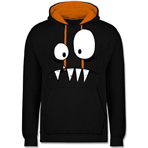 Karneval & Fasching - Monster Kostüm - XL - Schwarz/Orange - JH003 - Kontrast Hoodie