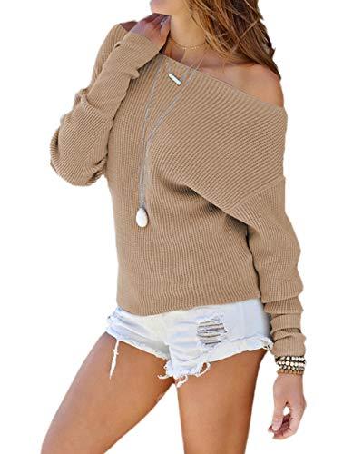 Ajpguot Pullover Damen Schulterfrei Pulli Sexy Ein Wort Kragen Langarm Sweater Oberteile Mode Einfarbig Jumper Tops Sweatshirt, Khaki, XL Khaki Damen Sweatshirt