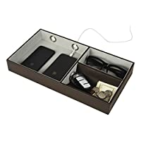Jack Cube Design Multi Valet Tray Leather, Desk or Dresser Organizer, Catch-all For Keys, Phone, Wallet, Coin, Jewelry and More With 3 Compartments (Dark Brown, 14.2 x 7.7 x 2 inches)-MK234A