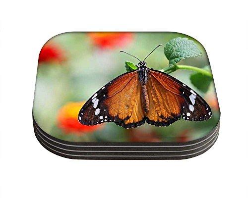 Snoogg Wet Butterfly Quadrat Tisch Untersetzer/4Stück Tisch und Küche Zubehör-Set für Getränke-Set quadratisch, 4Stück handgefertigt Untersetzern aus Holz