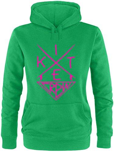 EZYshirt® Kitesurf Crew Damen Hoodie Grün/Pink