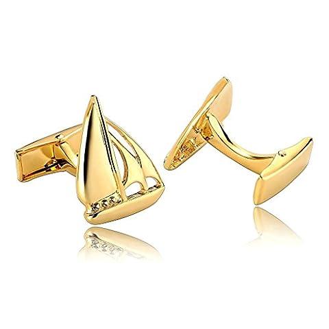AnaZoz Schmuck Edelstahl Herren Manschettenknöpfe Yacht Segelboot Gold, Manschetten Knöpfe für Männer