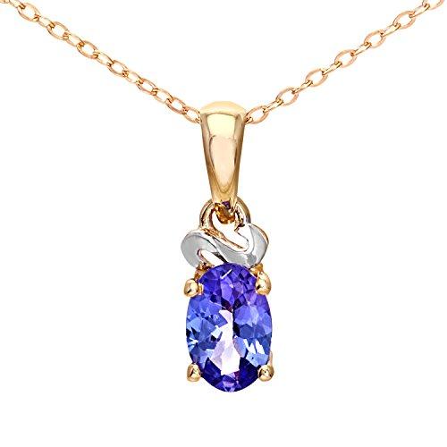 Citerna Damen-Halskette 9 Karat Gelbgold Tansanit Swirl 46 cm PP04276Y Tanz