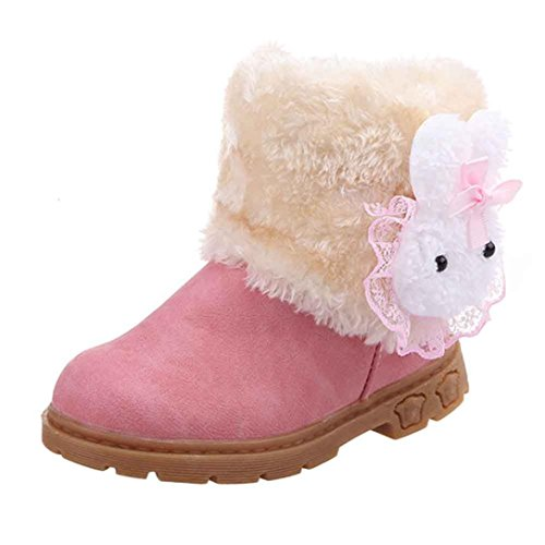 Ouneed Baby 1-6Age Girl Boy Snow Boots Cute Fashion Winter Warm Shoes (3-4Age, Pink)