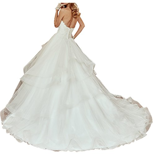 TOSKANA BRAUT Damen Weiss kompliziert lang Schleppe Herzform Aermellos Tuell Spitze Applikation Strass Ruekenfrei Falte Hochzeitkleid Abendkleid Weiß