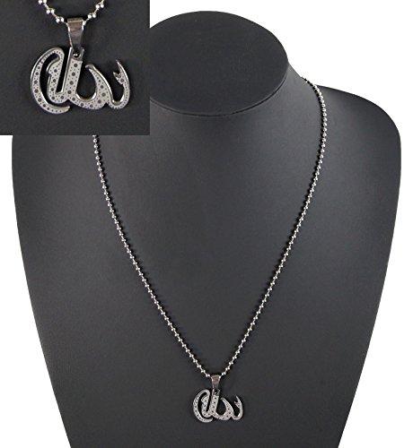 Edelstahl Halskette der Name Gottes auf Arabisch ALLAH für Damen Herren Islam Religion kk43