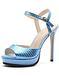 YXINY Zapatos de tacón Sandalias High Heels Ms Impermeable Plataforma Fish Mouth Summer 12CM Azul ( Tamaño : EU38...