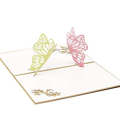aloiness Zwei Schmetterlinge Pop Up 3D Karte DIY Grußkarte für viele Gelegenheiten Valentinstag Hochzeitstag Muttertagskarte Taufe 10 * 15cm
