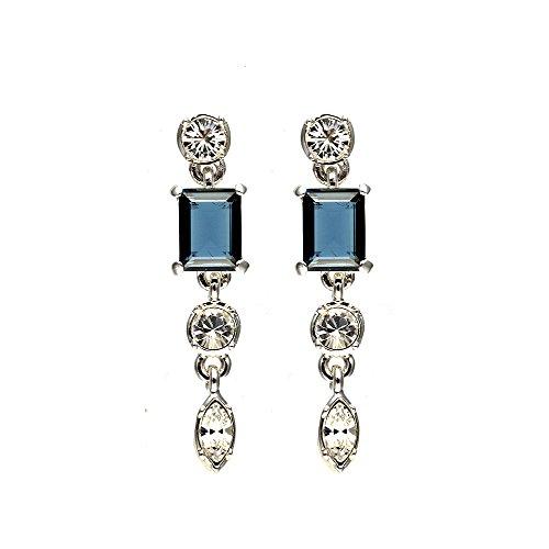 Girl Kostüm Dancing - Cristalina Ohrhänger rhodiniert Kensington Montana Blau Art-Deco-Stil Swarovski Kristall Drop Ohrringe