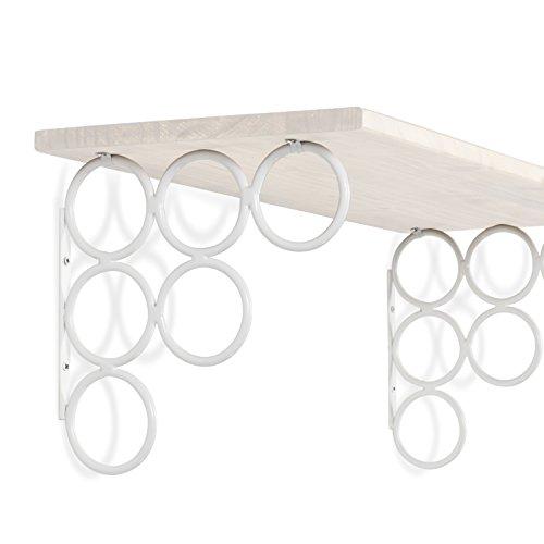 Baseball-regal (Wandhalterungen für Regale, 4 Stück, vielseitig einsetzbar, Wandhalterungen ohne Regal, Eisen-Weiß)