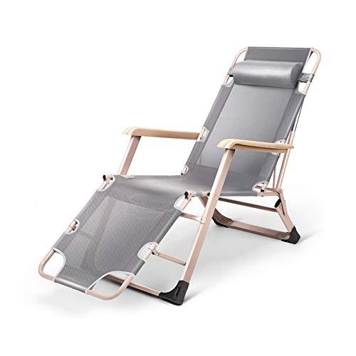 DYM Indoor Und Outdoor Lounge Chair Faltbare Nickerchen Bett Multifunktions Büro Tragbare Strand Balkon Garten Rückenlehne Stuhl Verstellbare Rückenlehne Stuhl Gürtel Kopfstützegrey teslin