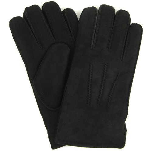 Herren-Luxus-Lammfell Handschuhe. Schwarz.