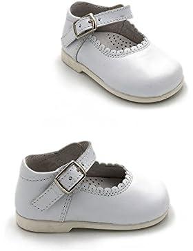 [Patrocinado]ELFOS - Zapato niña tipo merceditas con hebilla. Todo piel. Suela Goma. Primeros pasos. Hecho en España. Color...