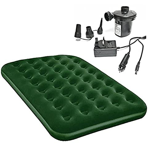 Single Or Double Inflatable Airbed With Dual Power 12v And 240v Fast Electric Air Bed Inflator Pump (Double Bed With Pump)