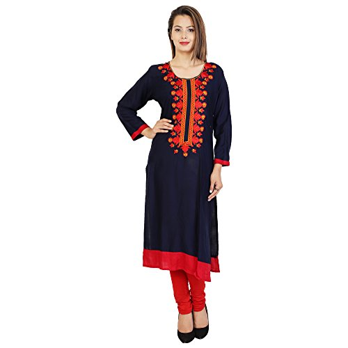 Attire4Fabric M&DR Women's Embroidered Rayon Straight Kurti Blue