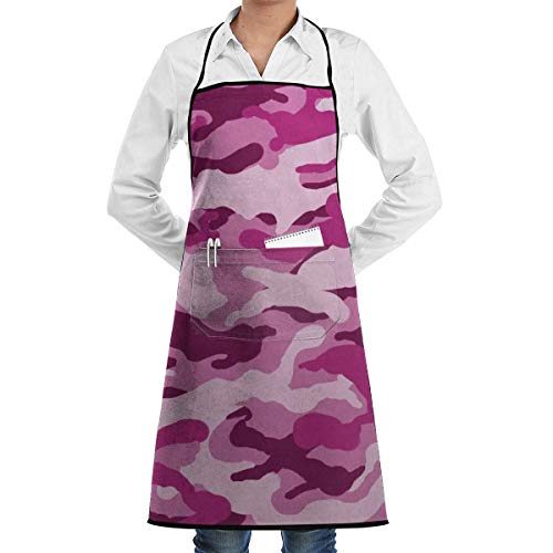 Drempad Schürzen Pink Camo Bib Apron Chef Apron - with Pockets for Male and Female,Waterproof, Resistant to Droplets, Durable, Machine Washable, Comfortable, Easy Care Apron -