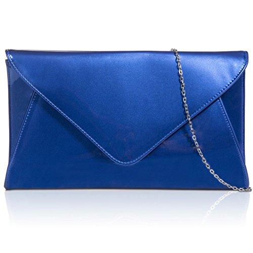 """Zarla Patent-Piatto per feste, da donna, per abiti da donna, a forma di busta, motivo: """"Evening Bags UK Blu (Blu Royal)"""