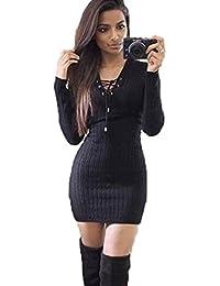 Vestido largos mujer otoño invierno Amlaiworld Vestido de punto de manga larga de invierno mujers Vestido de fiesta bodycon Suéteres…