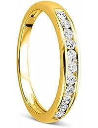 Orovi Damen-Ring Memoire HochzeitsringGelbGold 14 Karat (585) Brillianten 0.33 carat Verlobungsring Diamantring