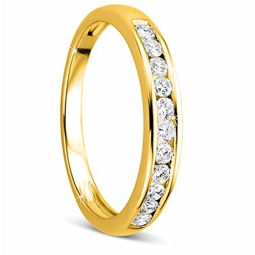 Orovi Damen-Ring Memoire HochzeitsringGelbGold 14 Karat (585) Brillianten 0.33 carat Verlobungsring Diamantring (Diamant-herz-ring Lila)