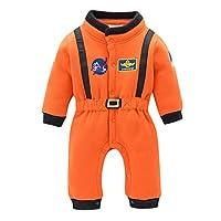PMJAdd8s4 Newborn Infant Baby Boys Jumpsuit Roleplay Astronaut Spaceman Cosplay Space Suit Orange