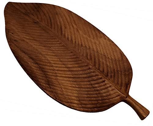 CherryTreeHouse, tagliere da portata in legno di noce 100{2c82c8153b5585695690c158bf079823a7ff71af1b2111fecad11078f0121193} naturale, design a forma di foglia, ideale per una bella presentazione di sushi, formaggio, frutta, carne, pane, o come elegante espositore