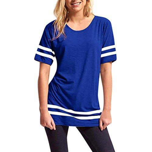 Damen Shirt, GJKK Damen Casual Streifen Patchwork Lose Top Kurzarm O-Ausschnitt Sport T Shirts Bluse Longshirt Sportlich T-Shirt Perfect Tee Sommershirt Sommerbluse Oberteil (Blau, L) (Perfect Print Tank)
