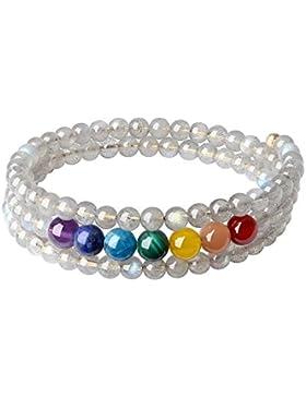 COAI® Geschenkideen Personalisiertes Armband aus Labradorit und 7 Chakra Yoga Armband Wickelarmband für Damen