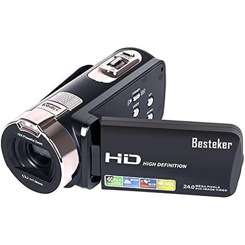 Videocámaras , Besteker Portable 1080P 24MP 16X Zoom Digital Videocámara con pantalla LCD de 2.7