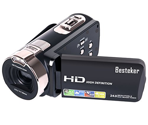 Kamera Camcorder, Besteker HD 1080P Videokamera 24MP 16X Digital-Zoom mit 2,7