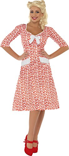 Smiffys, Damen WW2 Liebling Kostüm, Kleid, Größe: L, 39384 (40er Jahre Kostüme Für Kinder)