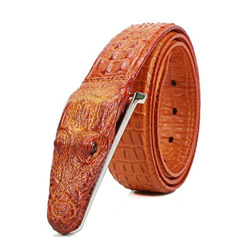 PIDAIKING Gürtel,Herren Gürtel Orange Cow Leder Krokodil Muster Modellierung Legierung Schnalle Gürtel Für Männer Business Casual Male Gurt, 110 cm. -