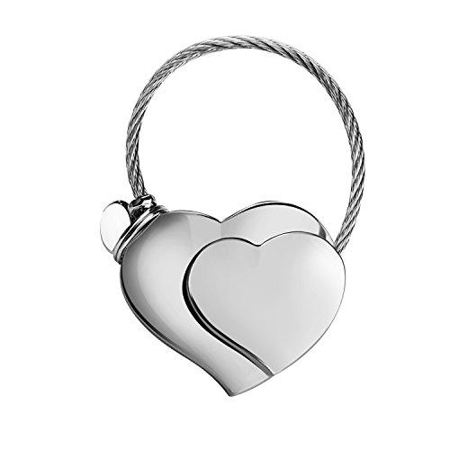 Doppio - portachiavi cuore, pendente chiave carino, regalo di san valentino, lucidatura in lega di zinco (argento)