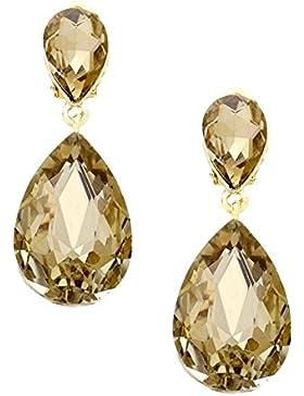 Schmuckanthony Feine Lange Ohrclips Clips Clip On Ohrringe Tropfen Kristall Honig Gold 4,5 cm Lang