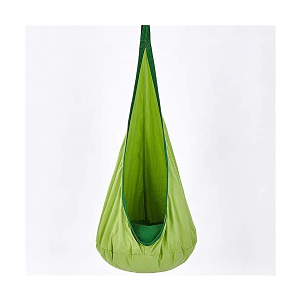 LMX-liv Kids Pod Swing Seat - Cotton Hanging Nest for Kids - Children Pod Hanging Chair for Nursery Or Children's Room - Hammock Pod Kids Swing - Portable Child Inflatable Cloth Bag Swing Tent,Green  INFANT CEILING CLOTH BAG - The material of the seat cushion 100% cotton and PVC inflatable cushion, pleasant skin feel, easy to clean, An inflatable and removable cushion with adjustable hardness, The color is bright and energetic. INDOOR AND OUTDOOR - It can be used in outdoor or indoor and can easily be hung from a branch, porch or ceiling, brightens the room or garden immediately. The offers hours of swinging and spinning fun. CHILD NEEDS - You can sit and read with your children, listen to music, or just relax. It helps your children to develop the skills of balance and body awareness. Perfect for children who acquire sensory needs. 1