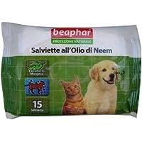 Salviette Beaphar all'Olio di Neem 15 pz - Salviettine detergenti naturali, profumate con estratto di margosa, per cani, gatti e cuccioli - Olio All'aperto