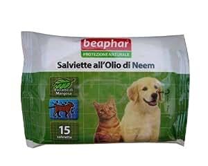 Salviette Beaphar all'Olio di Neem 15 pz - Salviettine detergenti naturali, profumate con estratto di margosa, per cani, gatti e cuccioli