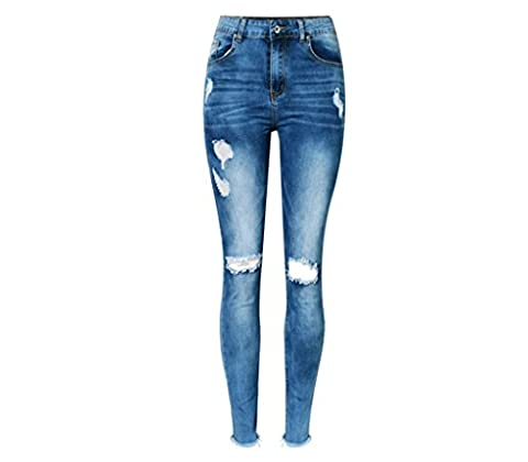 Byjia Femmes Jeans Taille Haute Taille Denim Ripped Frayed Disco Skinny Slim Pencil Trouser Retro Washed Irregular Tassel Nine Pants . Blue . 40
