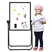 "DOEWORKS 24"" x 18"" Magnetic U-Stand Whiteboard/Kids Flip Chart Easel, Double Sides Whiteboard & Chalkboard Standing White Board, Height Adjustable & 360°Rotating with Bonus Storage Box"