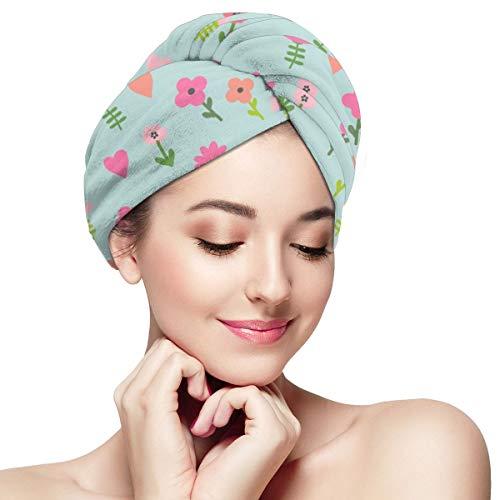 BATH LOVE Chicken Floral 3 Cute Farm Florals Wildflowers Head Wraps for Women Shower Cap Anti-Frizz Absorbent Twist Drying Shower Towel Hat -