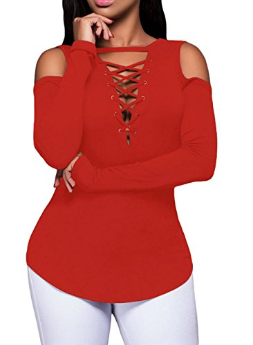 La vogue Damen Langarmshirt Schulterfrei Bluse Shirt Lace up Oberteil Rot
