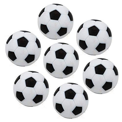Lezed 7 Stück Tischfußball Kickerbälle Tischfußball Kugeln Mini Ball Kicker Bälle Aus ABS Hart und Schnell Schwarz Kunststoff Umweltschutz Ersatzteil für Kinderspielzeug Spiel Weiß 32mm