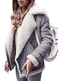 Cappotto Reversibile Giubbotto Retro Aviatore Giacca Moto Invernale Donna  Imbottito Finta Pelle di Pecora Caldo Giacche f754da56dbd