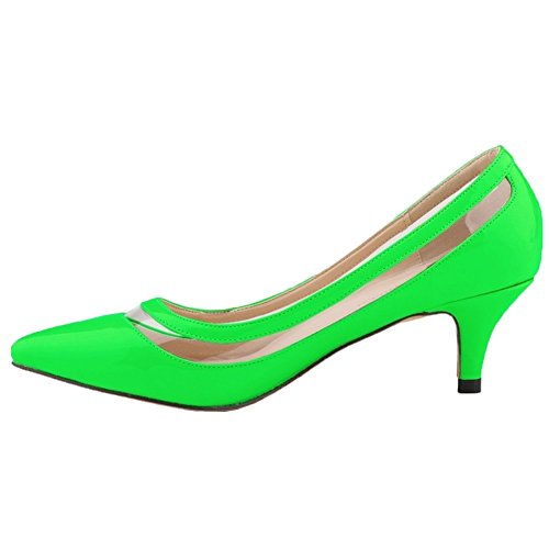 HooH Femmes Kitten Heel Transparent Bout pointu Work Robe Escarpins Vert