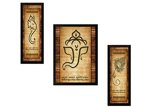 SAF Ganesh Modern Art Framed Painting (Synthetic, 13.5 inch x 22 inch, Set of 3)